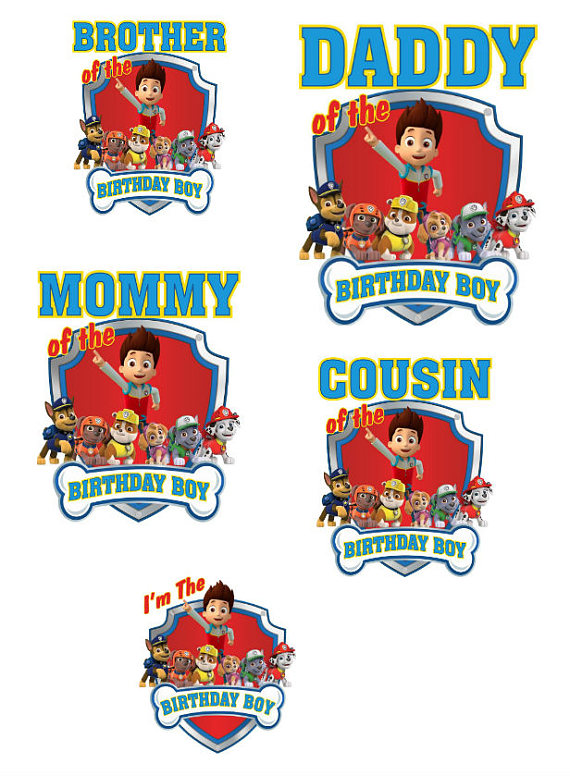 Birthday Boy Iron On Paw Patrol T Shirt Decal PAWPATROL2