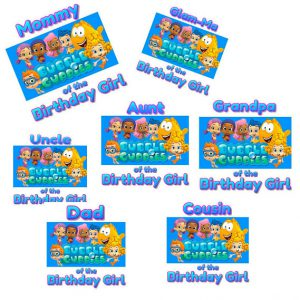 Bubble Guppies Birthday Girl iron on, Bubble Guppies Mommy of iron on, Bubble Guppies Daddy