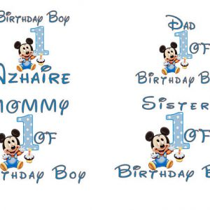 Personalized Disney Family Shirts Iron On Transfers Mickey Mouse and Minnie Mouse